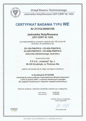 Certyfikat Badania typu WE